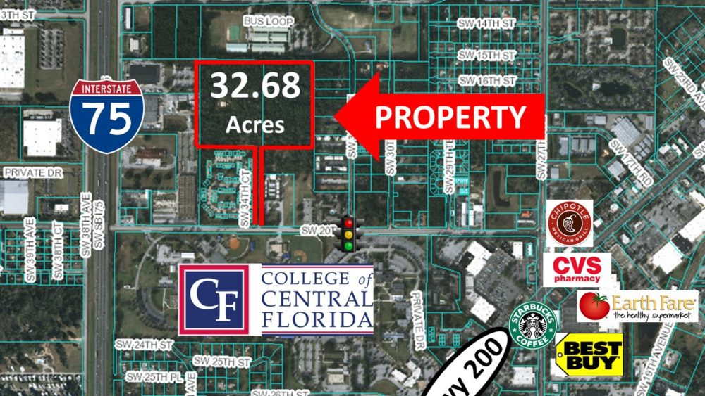 Vacant land, high density land use in Ocala, FL